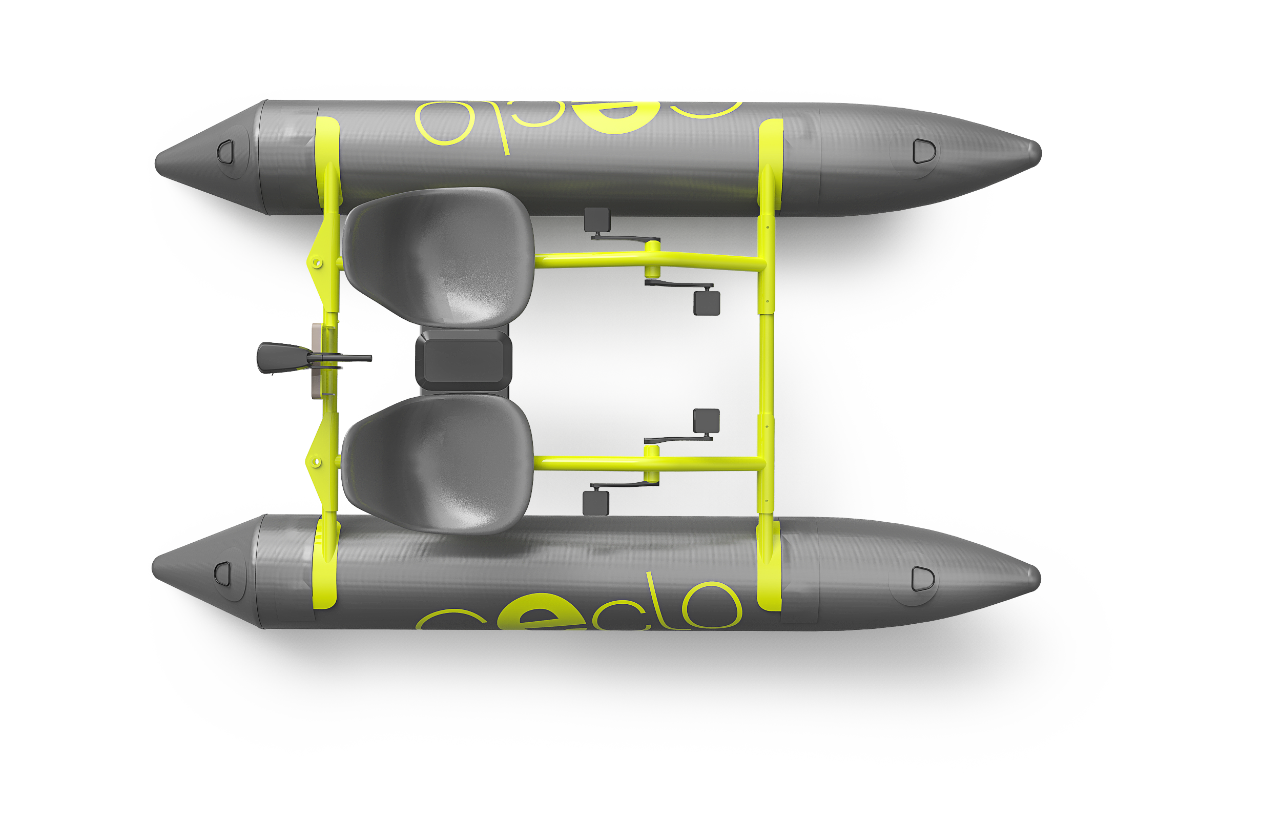 catamaran électrique gonflable CECLO FUN X2 vue de dessus