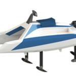 catamaran électrique à foil overboat foiler 3/4 avant babord
