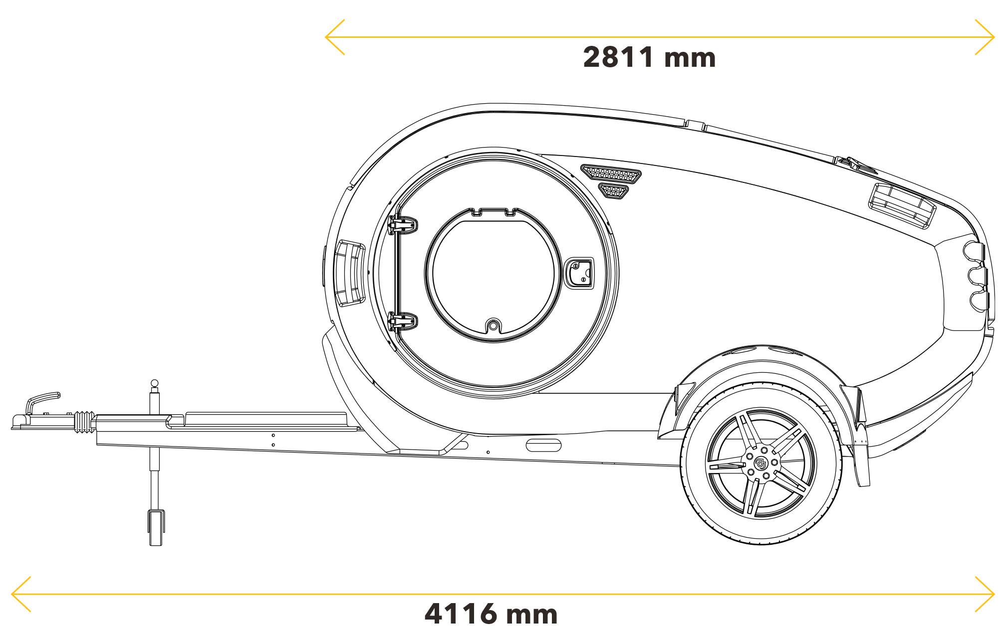 dimensions latérales mini caravane Mink Campers