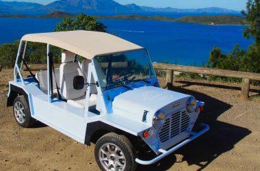 Mini Moke nosmoke bleue vue de 3/4 avant droite